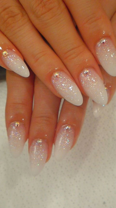 Almond Nails, White Wedding Styles Stiletto
