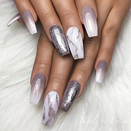 Marble Coffin Nail Design 2018, Coffin Grey Foil Style