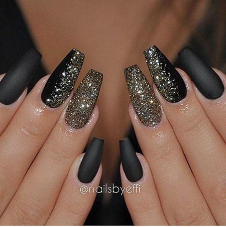 Prom Black and Gold Nail Design, Gold Black Coffin Glitter
