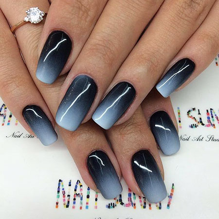 Black and White Ombre, Manicure Ombre Leaf Leaves