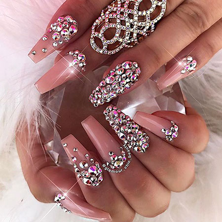 Long Nail Art with Rhinestones, Long Coffin Acrylic Rhinestones