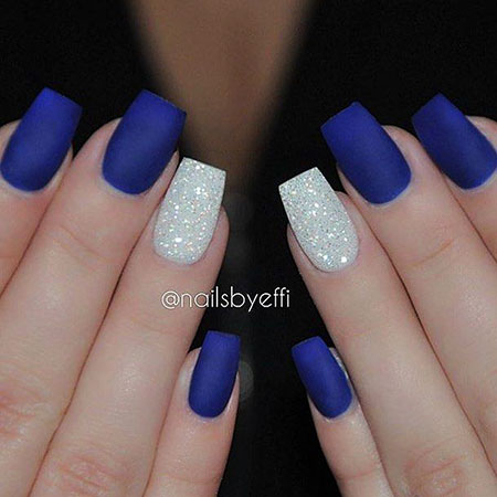 Blue Prom Nails, Blue Matte Diamond Smink