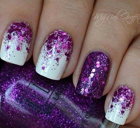 Purple Glitter Matte White