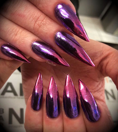 Chrome Acrylic Nails, Stiletto Hot Chrome Acrylic