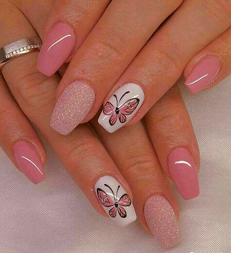 Cute Summer Nail Design, Manicure Colors Butterfly Beautiful