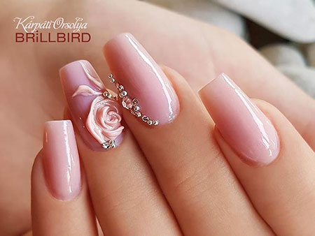 3D Pretty Wedding Nail Art, 3D Manicure Coffin Pretty