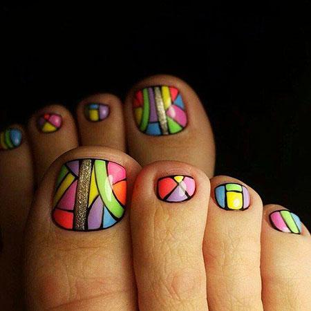 Colorful Toe Nail Art, Toe Fun 2017 Pedicures