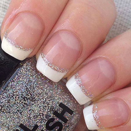 French Tip with Silver Nail Art, French Wedding Silver Manicure