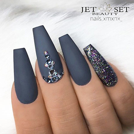 Grey Nail Art with Rhinestones, Grey Matte Coffin Glitter