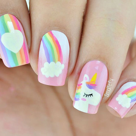 Unicorne Nail Art, Easter Manicure Spring Floweral