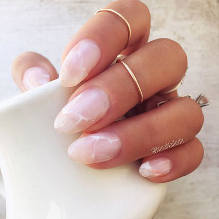 Easy Nail Art Short Oval Shape, Rose French Manicure Hot