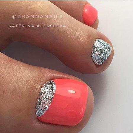 Glitter Toe Summer Manicure
