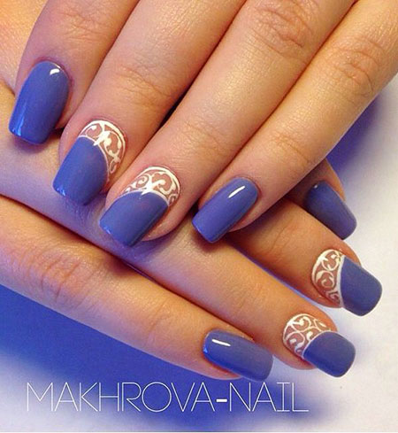 Purple Nail Art Design, Colors Manicure Lace Ideas