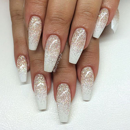 Glitter White Coffin Acrylic