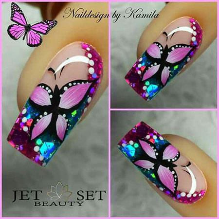 Butterfly Manicure Finger Painted