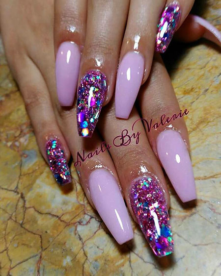 Coffin Glitter Acrylic Long