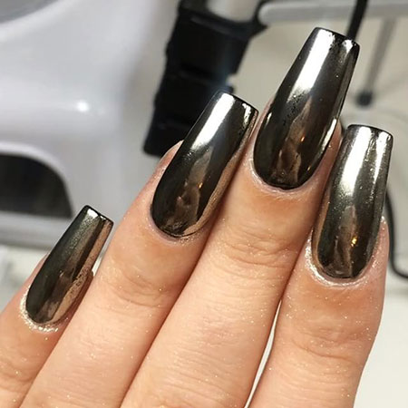 Black Chrome Nails, Polish Acrylic Metallic Swatch
