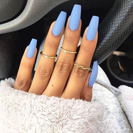 Matte Blue Nails, Black Ballerina Blue Coffin