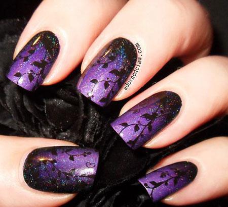 Purple and Black Nail Art, Purple Bridal Black Finger