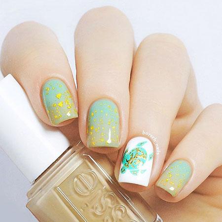 Turtle Nail Design, Essie Manicure Floweral