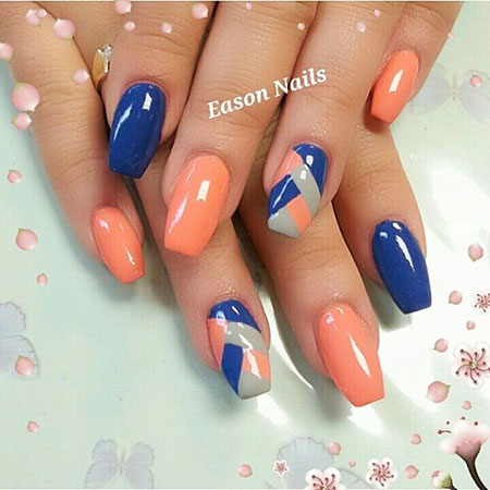 Orange Manicure Blue