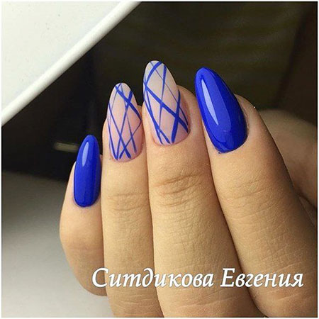 Deep Blue Nails, Simple Manicure Elegant Paznokcie