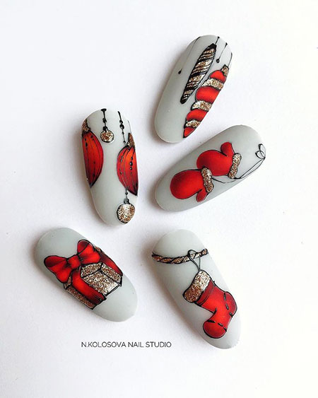 Cute Nail Art Idea for 2019, 3D Manicure Christmas