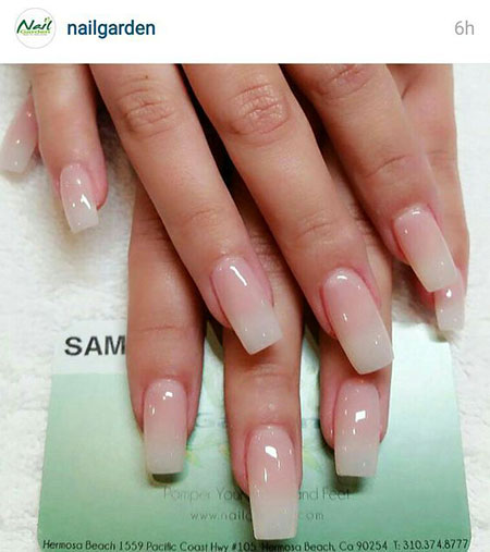 Natural Colored French Acrylic Nails, French Natural Acrylic Long