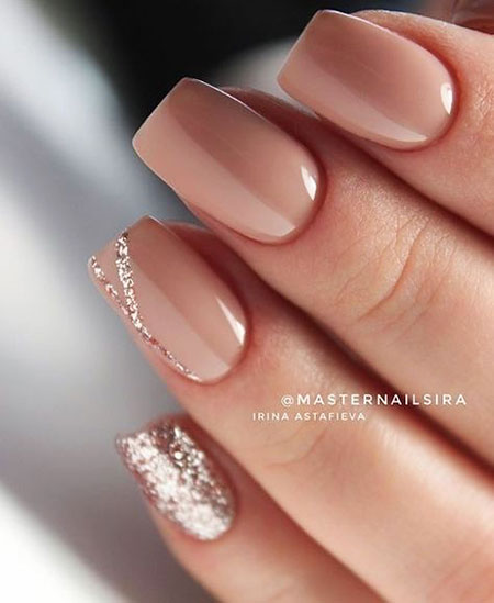 Nude Colored Medium Square Nails, Manicure Most Dark Fall