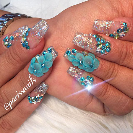 3D Flower Crystal Glitter