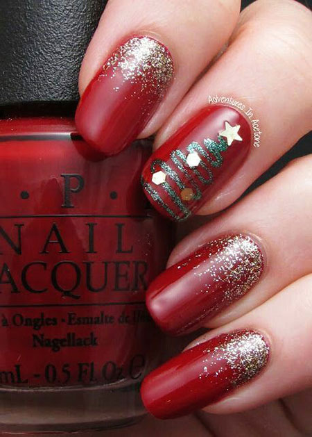 Christmas Polish Black Manicure