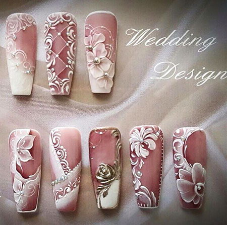 Manicure 3D Flower Wedding