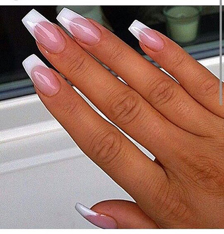 Very Long Coffin French Nails, Coffin French Shape Acrylic