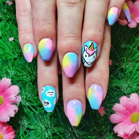 Cotton Candt Colored Nail Art, Most Trend Classy Winter