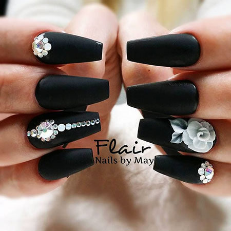 Matte Black Base Nail Art, White Coffin Flower 3D