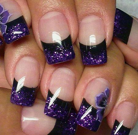 Cute Colored Style, Purple Acrylic Black Love