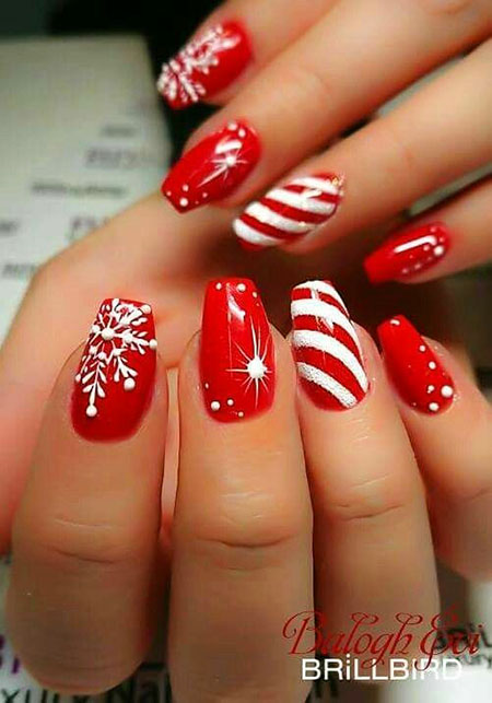 Red Base Stylish Nail Art, Fashion Christmas Winter Red