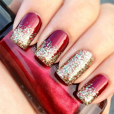 Christmas Holiday Glitter Nails, Christmas Holiday Glitter Black