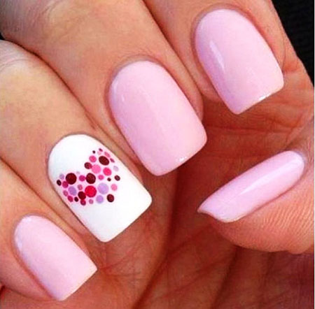 Heart Shape Nail Trend, Simple Pink Short Heart
