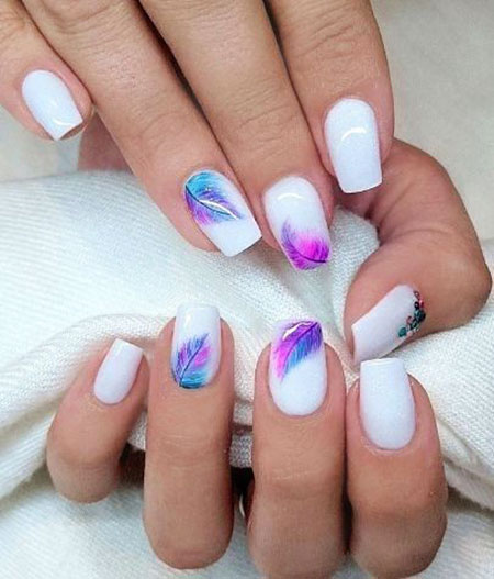 Squoval Short Nail Art, Summer Manicure Fall Finger