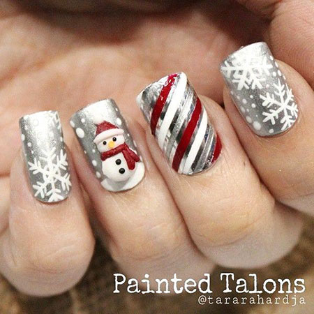 Nail Art for Christmas Day, Christmas Black Snowman Holidays