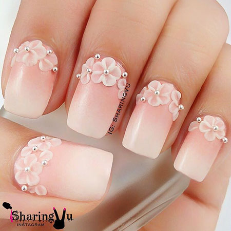 Pink Colored, Easy Flower Wedding Manicure