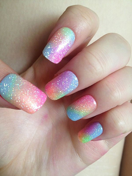 Rainbow Colors on Nails, Rainbow Polish Glitter Black