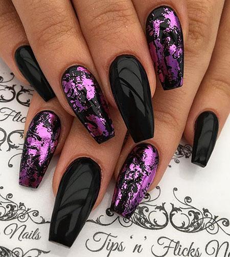 Black Purple Coffin Acrylic