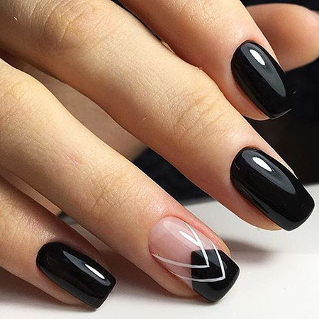 Black Simple Manicure Педикюр