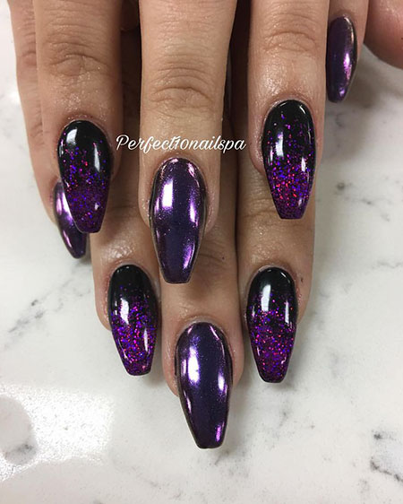 Great Nail Color, Black Purple Glitter Gel