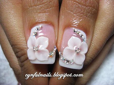Acrylic 3D Manicure Bridal
