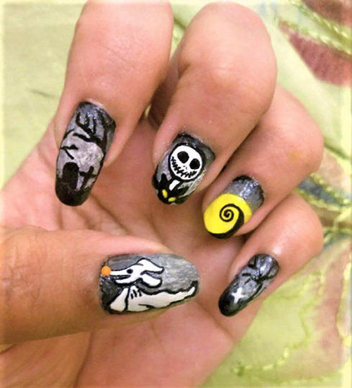 Nightmare Before Christmas Acrylic Nails