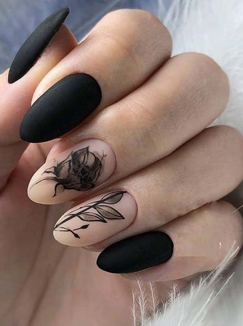 Black Nails With Art