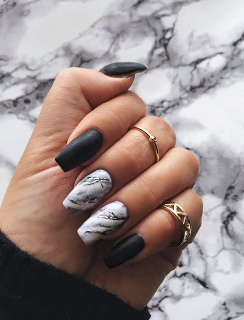 Black Nails With Nail Art